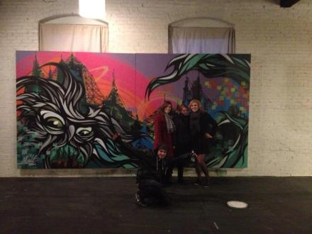 Malt and Tead collaborative mural completed, Tead Nasty pictured with  Nikki Turner, Shannon Renee McDonell, Katie Moore