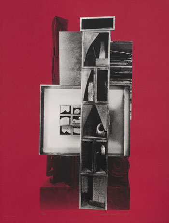 Louise Nevelson Facade I The Drum 1966 Serigraph with collage elements on paper Photo by Chuck Heiney