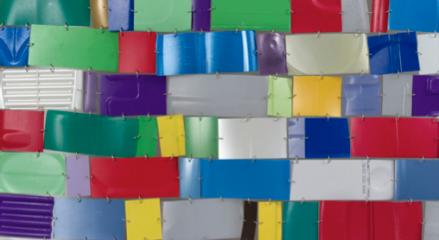 """Niki Lederer """"Fantastic Brickplastic"""" diptych (detail). Photo: John Berens"""