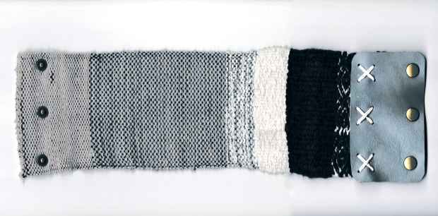 Megan Roach. Untitled. Hand woven and hand dyed wool, alpaca, leather, snaps. Flex Gallery, Grand Rapids, MI. 2016