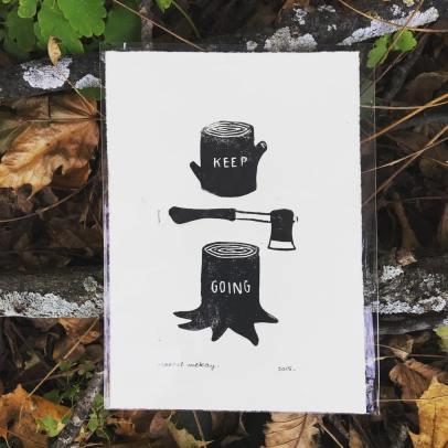 Rachel McKay Keep Going Linoleum block print