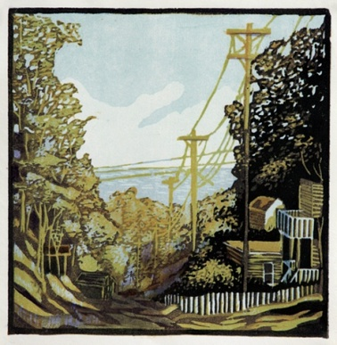 Five Mile Hill, Color Reduction Woodcut